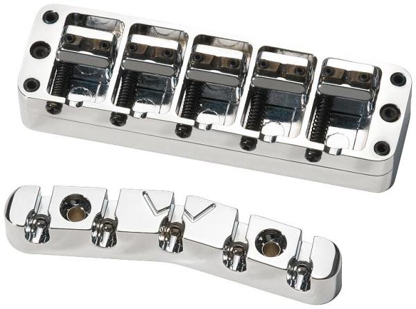Warwick Parts - Bridge + Tailpiece, 5-String, Broadneck - Chrome