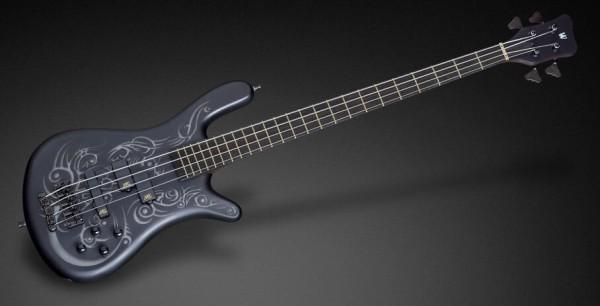 Warwick Custom Shop Streamer LX, 4-String - Solid Black Satin with Grey Tribal - 16-3149