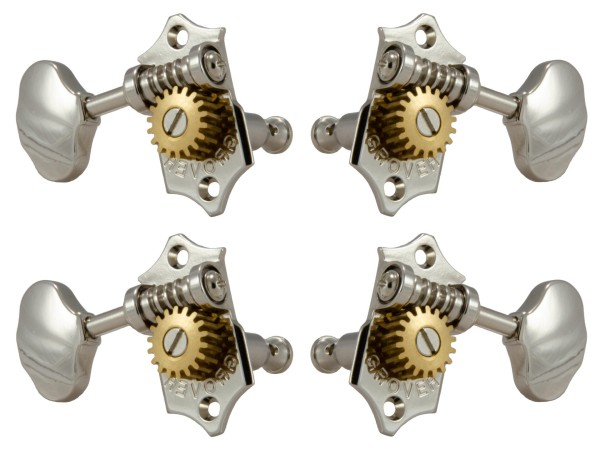 Grover U99-18N Sta-Tite Geared Ukulele Pegs with Metal Button, 21 mm Post - 4 pcs. - Nickel