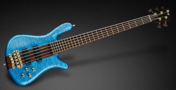 Warwick Custom Shop Streamer Stage I, 5-String, Broadneck - Ocean Blue Transparent Satin - 18-3832