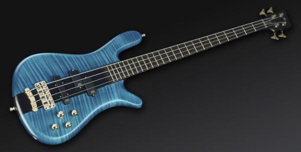 Warwick Masterbuilt Streamer Stage I, 4-String - Turquoise Blue Transparent Satin, Gold Hardware
