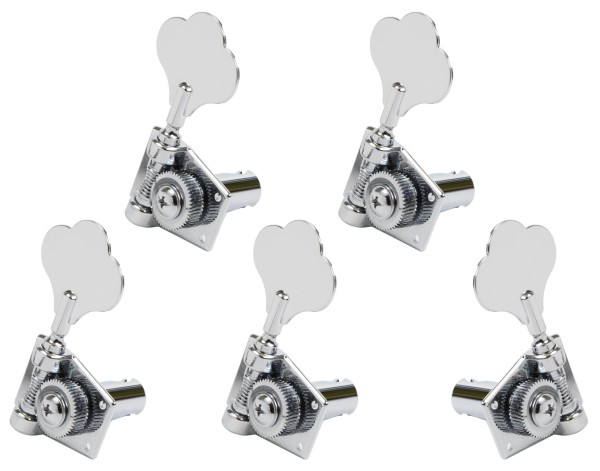 Graph Tech PRB-5411-C0 Ratio Bass Machine Heads, Open Back with Classic Clover Leaf Button - 5-String, 4 + 1 - Chrome