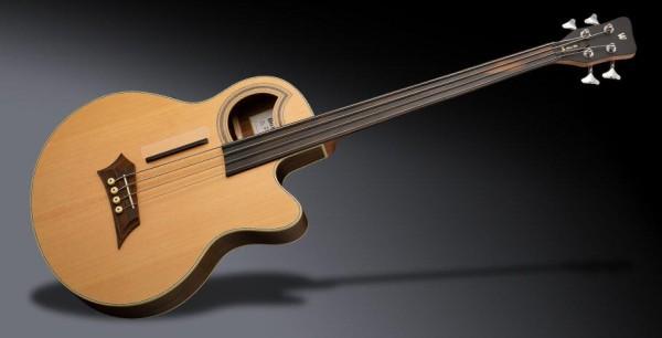 Warwick RockBass Alien Deluxe Hybrid Thinline, 4-String, Fretless - Natural Transparent Satin
