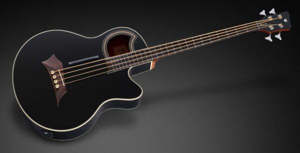 Warwick RockBass Alien Standard, 4-String, Fretless with Lines - Solid Black Satin