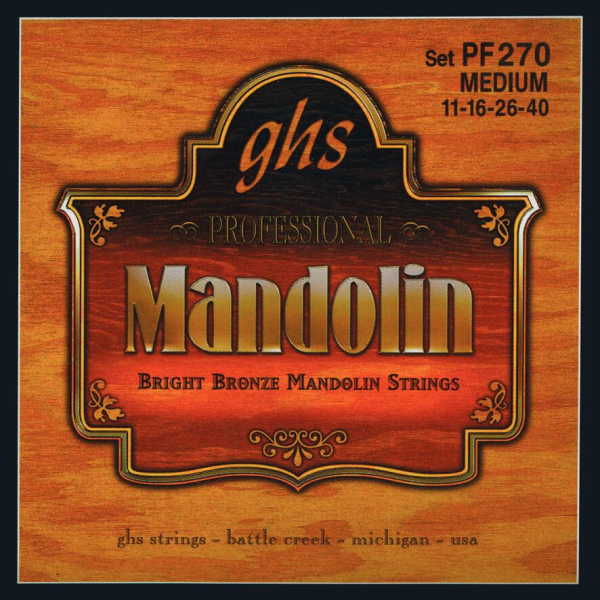 GHS Professional - PF270 - Mandolin String Set, Loop End, Bright Bronze, Medium, .011-.040