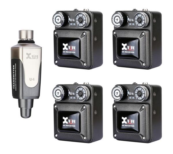 XVive U4 In-Ear Monitor Wireless System - Bundle, 1x Transmitter + 4x Receiver