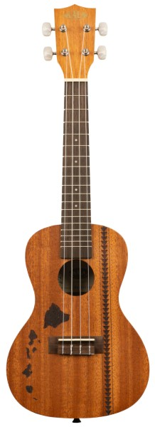 KALA KA-15C-H2 - Satin Mahogany Concert Ukulele with Hawaiian Islands and Tattoo, with Bag (UB-C)
