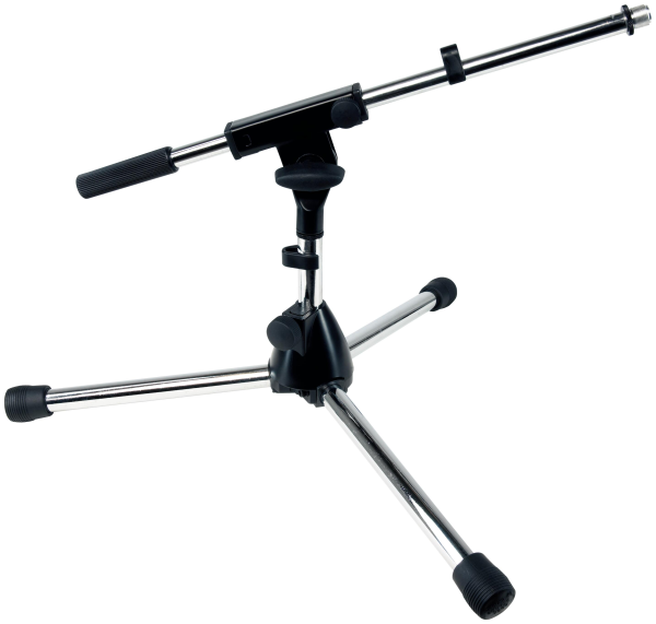 RockStand Microphone Stand,  30 cm, Solid Tri-Pod with Boom and Cable Clips, Nickel