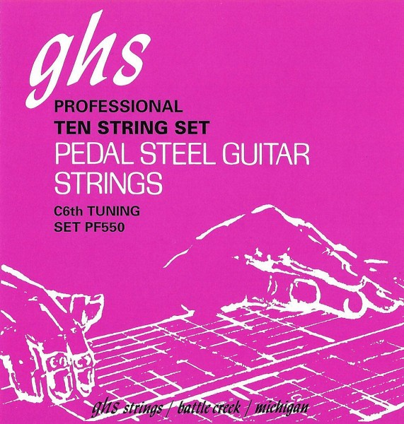 GHS Pedal Steel Nickel Rockers - PF550 - Pedal Steel Guitar String Set, 10-Strings, C6 Tuning, .015-.070