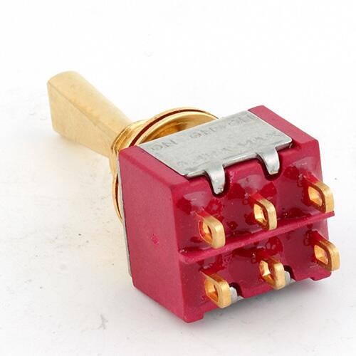 Mini Toggle-switch, flat Toggle,gol solder Lug, On-On-On,DPDT