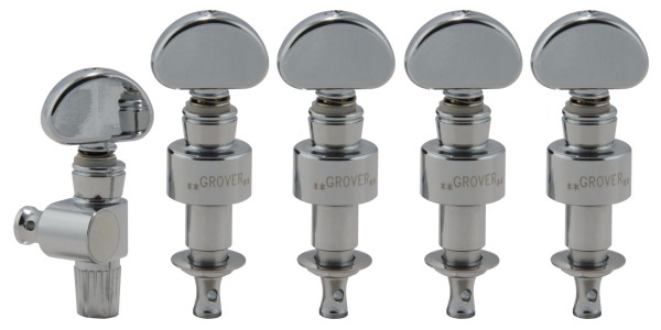 Grover 121C5 - Geared Banjo Pegs, Metal Button, Set of 5 - Chrome