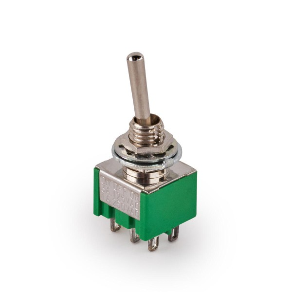 MEC Mini Toggle Switch, Long, Solder Lugs, ON/OFF/ON, DPDT - Chrome