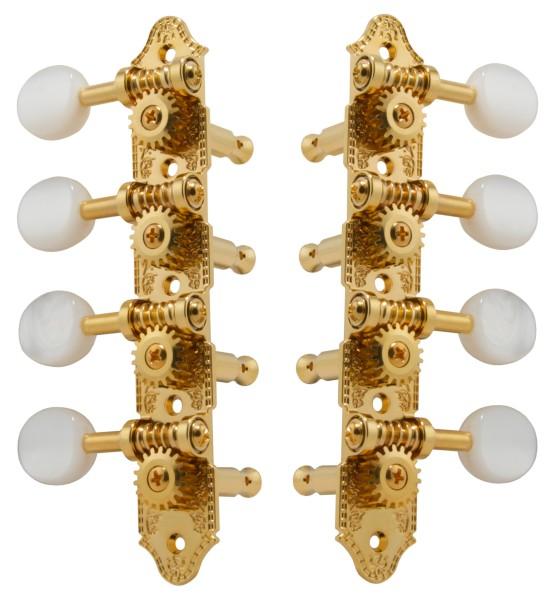 Grover 409 Series - Professional Mandolin Machines with Pearloid Button - Mandolin Machine Heads, 4 + 4