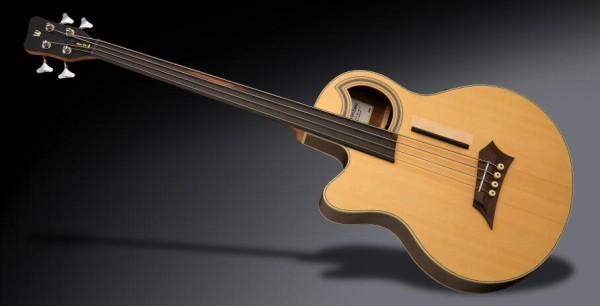 Warwick RockBass Alien Deluxe Hybrid Thinline, Lefthand, 4-String, Fretless - Natural Transparent Satin