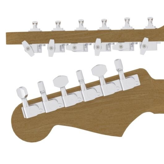 Hipshot F.Tuning Pegs, 6 Line,Chrom staggered with base plate
