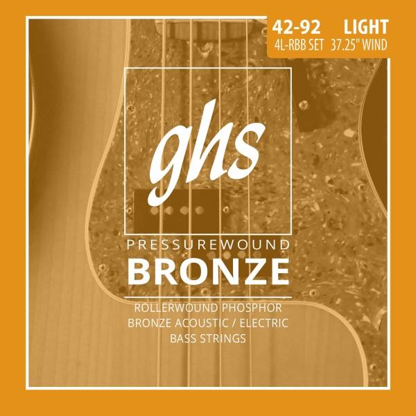 GHS Pressurewound Bronze Bass String Set, 4-String, Light, .042-.092