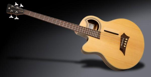 Warwick RockBass Alien Deluxe Hybrid Thinline, Lefthand, 4-String - Natural Transparent Satin