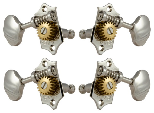 Grover U98-18N Sta-Tite Geared Ukulele Pegs with Metal Button, 25.2 mm Post - 4 pcs. - Nickel
