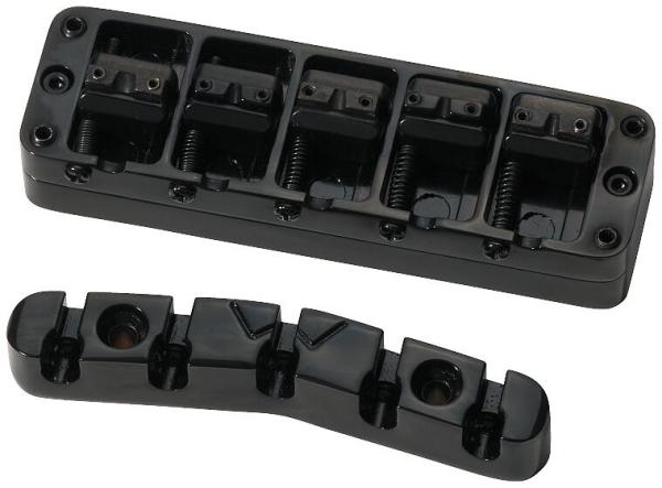 Warwick Parts - 3D Bridge + Tailpiece, 5-String, Broadneck - Black