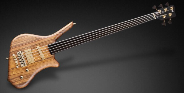 Warwick Masterbuilt Dolphin Pro I, 5-String - Fretless, Natural Oil Finish, Gold Hardware