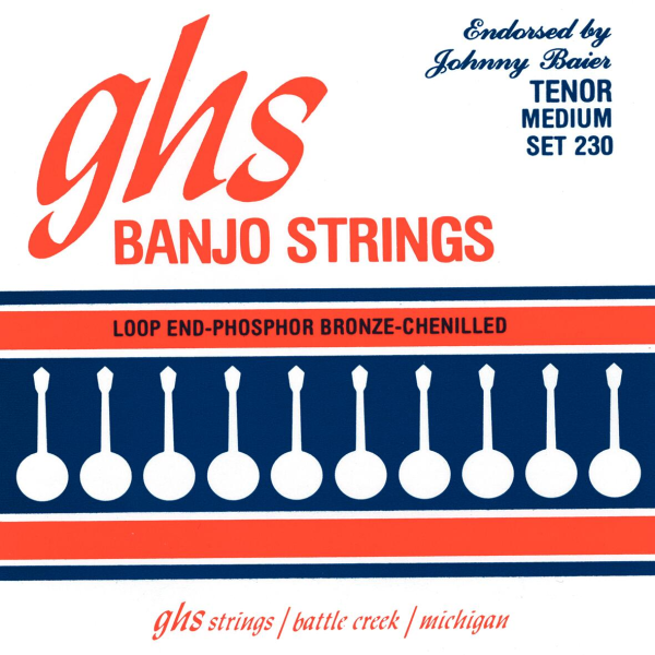 GHS Johnny Baier Signature - 230 - Banjo String Set, 4-String, Loop End, Medium, .011-.030