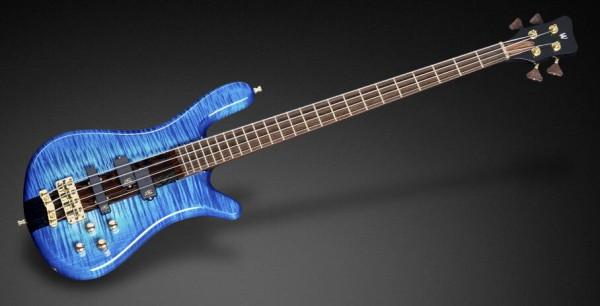 Warwick Masterbuilt Streamer Stage I, 4-String - Bleached Ocean Blue Burst Transparent High Polish