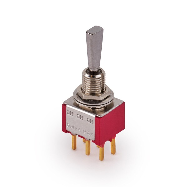 MEC Mini Toggle Switches, Flat, Print, ON/ON/ON, DPDT