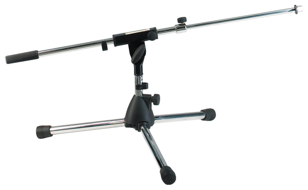 RockStand Microphone Stand,  30 cm, Solid Tri-Pod with Telescopic Boom and Cable Clips, Nickel