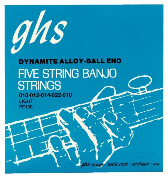 GHS Professional - PF130 - Banjo String Set, 5-String, Ball End, Stainless Steel, Light, .011-.022