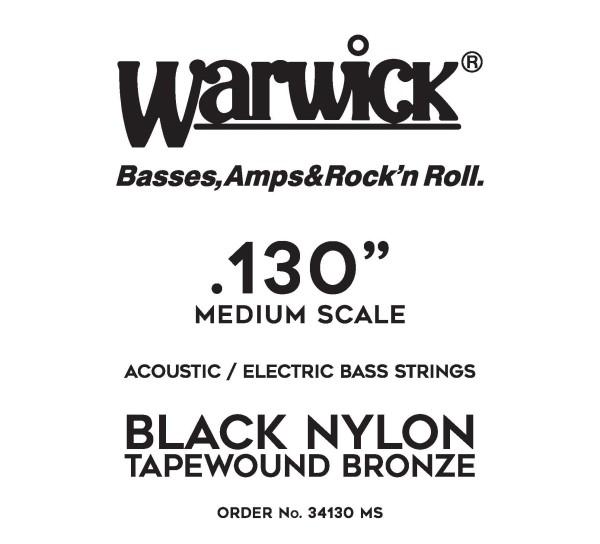 Warwick Black Nylon Tapewound Acoustic / Electric Bass Single Strings - Medium Scale