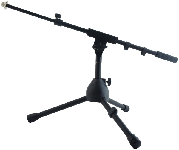 RockStand Microphone Stand, 30 cm, Solid Tri-Pod with Telescopic Boom and Cable Clips, Black