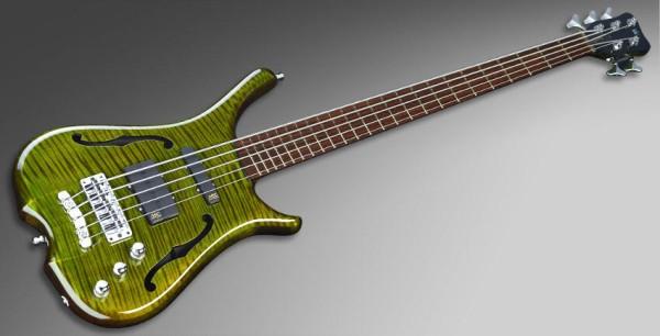 Warwick Masterbuilt Infinity, Flamed Maple, 5-String - Emeraude Green Transparent High Polish