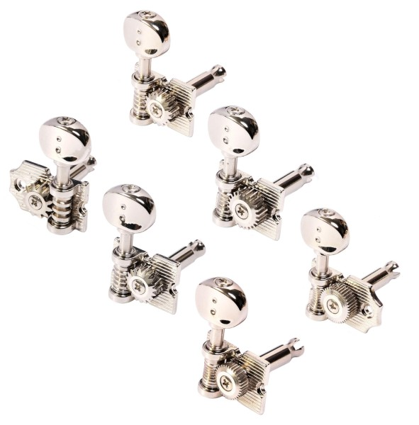 Graph Tech PRN-4624-N0 Ratio Electric Guitar Machine Heads, Vintage Waffle-Back Look with Open Back - 6-in-Line, Bass Side (Left) - Nickel