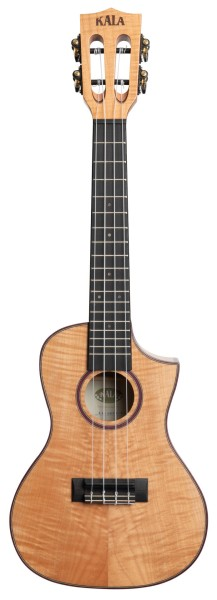 KALA KA-ASFM-C-C - Solid Flame Maple Concert Ukulele, with Cutaway and Case (UC-C)