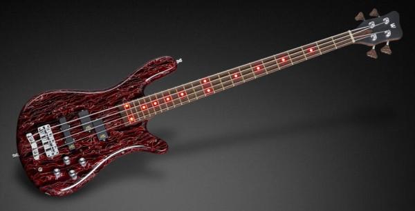 Warwick Custom Shop Streamer LX, 4-String - Red Raffir Top / Nirvana Transparent Satin Back- 17-3563