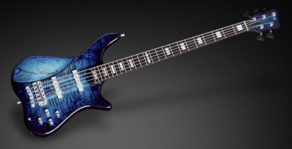 Warwick Custom Shop Katana NT, 5-String - Midnight Blue Threadburst Transparent High Polish - 17-3381