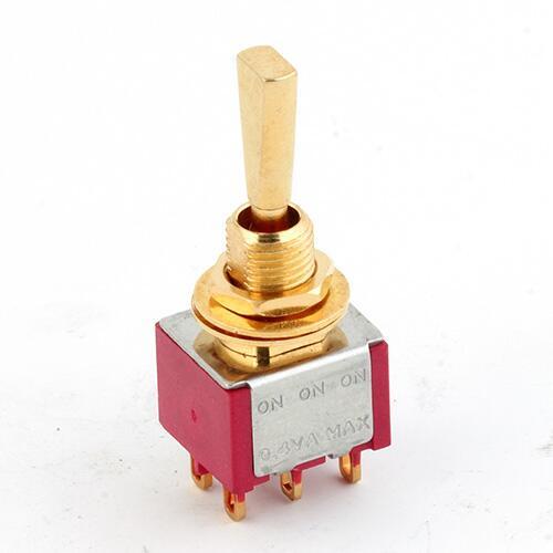 Mini Toggle-switch, flat Toggle,gol solder Lug, On-On-On,DPDT