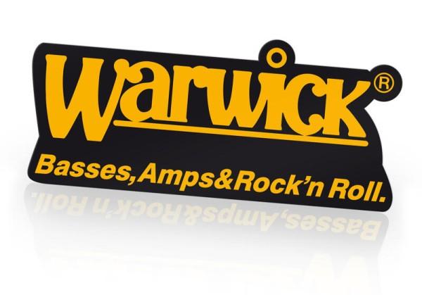 "Warwick Promo - Logo Sticker ""Die Cut"" Yellow on Black, 15,2 x 7,9 cm"