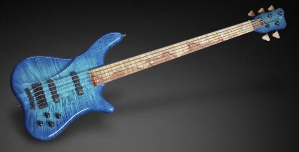 Warwick Custom Shop Katana NT, 5-String - Bleached Turquoise Blue Burst Transparent High Polish - 16-3200
